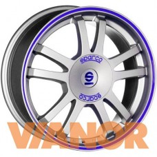 Sparco RALLY 7.5x17/5x114.3 D73.1 ЕТ45 Matt Silver Tech Blue Lip